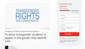 Screenshot from change.org