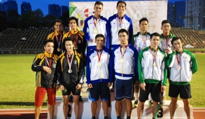 GOLD AT LAST. The Blue Tracksters made history as they notched the Ateneo's first ever 4x400m relay gold medal.