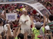 "VIVA EL PAPA. Pope Francis was welcomed with loud cheers of ""Papa Francisco, mahal ng Pilipino!"" when he arrived in the Quirino Grandstand on January 18 for the concluding Mass of his five-day pastoral and state visit to the Philippines. (Photo by Arthur J. Tan)"